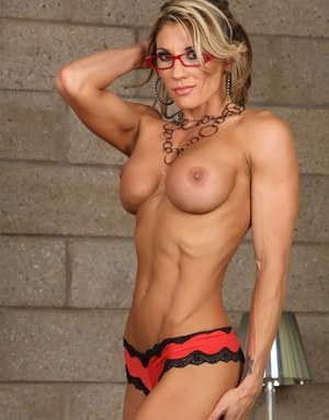 Abby marie fitness milf in corset and stocking 9